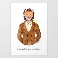wes anderson Art Prints featuring Fantastic Wes Anderson by Roxanne Bee