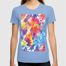 Summer Garden II Womens Fitted Tee Tri-Blue SMALL