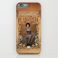iPhone Cases featuring The Amazing Tattooed Lady by Rudy Faber