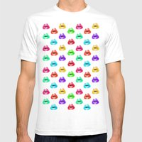 Lip Print Mens Fitted Tee White SMALL