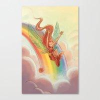 Goblins Drool, Fairies Rule! - Rainbow Swoop Canvas Print