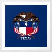 Texas Flag And Eagle Cre… Art Print