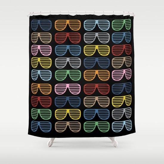 Rainbow Shutter Shades at Night Shower Curtain