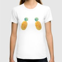 Pineapple Watercolor Womens Fitted Tee White SMALL