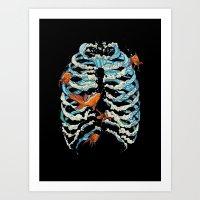 fish Art Prints featuring FISH BONE  by Huebucket