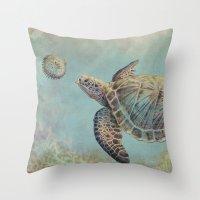 A Curious Friend (sea Tu… Throw Pillow