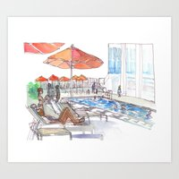 Lounging by the Pool Art Print