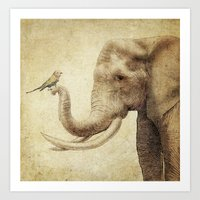 A New Friend (sepia drawing) Art Print