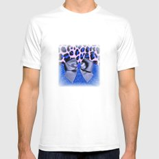 Leopard and Blue Glitters with Bow Mens Fitted Tee SMALL White