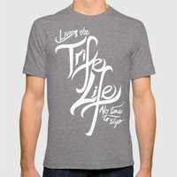 Living the Trife Life Mens Fitted Tee Tri-Grey SMALL