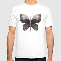 Black butterfly Mens Fitted Tee White SMALL