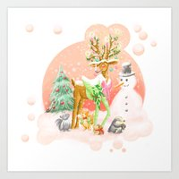 Reindeer Before Christma… Art Print
