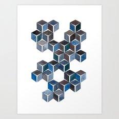 Monochromatic Dark Cubes Art Print