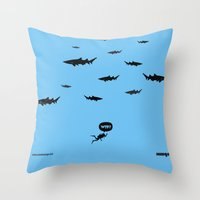 WTF? Tiburones! Throw Pillow