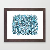 City Machine - Blue Framed Art Print