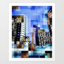 Retro City Tower Tiles Art Print