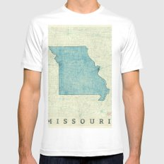 Missouri State Map Blue Vintage White Mens Fitted Tee SMALL