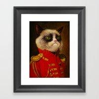 The cat is Grumpy Framed Art Print