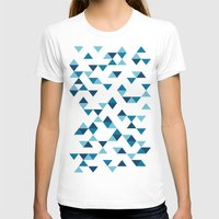 Triangles Blue Womens Fitted Tee White SMALL