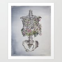 Floral Anatomy Skeleton Art Print