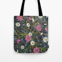 Teal Flowers Tote Bag
