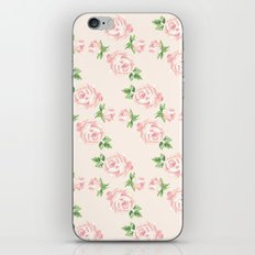 Pink Vintage Roses Pattern iPhone & iPod Skin