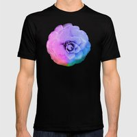 Rainbow Blossom Mens Fitted Tee Black SMALL