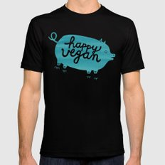 Happy Vegan Mens Fitted Tee Black SMALL