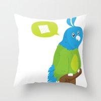 Depressed Parrot Throw Pillow