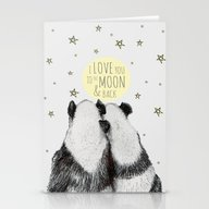 Pandas Love To The Moon … Stationery Cards