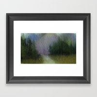 Green Blurry Landscape Framed Art Print