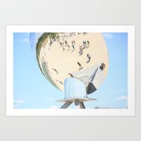 Reflections of unidentified tourists from all over the world in the spherical mirror Art Print