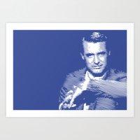 Cary Grant Blue Art Print