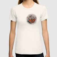 Peacock Butterfly Womens Fitted Tee Natural SMALL
