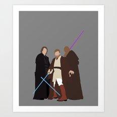 Obi, Mace and Anakin Star Wars Digital Print Art Print