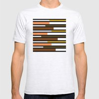 Brown, green, yellow & pink stripes Mens Fitted Tee Ash Grey SMALL