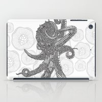 Octopus Bloom black and white iPad Case