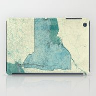 New York Map Blue Vintag… iPad Case