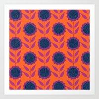 Retro Bloom Purple 8 Art Print