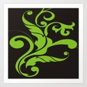 Floral Swirls Green on Black Art Print