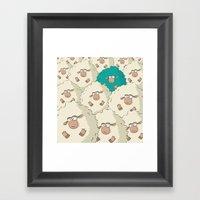 Sheep Pattern | Turquois… Framed Art Print