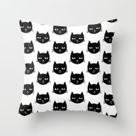 Cat Head - Black And Whi… Throw Pillow