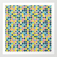 Funny Polkas-Blue and pink Art Print