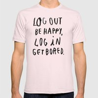 LOG OUT Mens Fitted Tee Light Pink SMALL