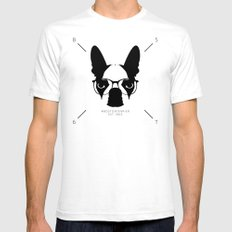 Hipster Boston Terrier SMALL Mens Fitted Tee White