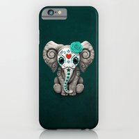 iPhone Cases featuring Teal Blue Day of the Dead Sugar Skull Baby Elephant by Jeff Bartels