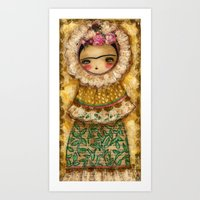 Frida In A Brown And Gre… Art Print