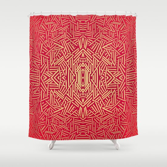 Radiate Red Yellow Ochre Non Metallic Shower Curtain By Jacqueline Maldonado Society6