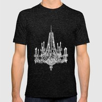 Chic White and Gray Chandelier   Mens Fitted Tee Tri-Black SMALL