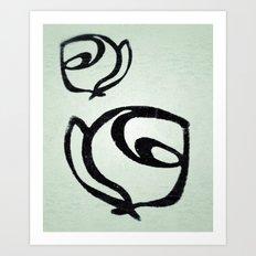 Flowers, Mother-Daughter, Mint Green Art Print